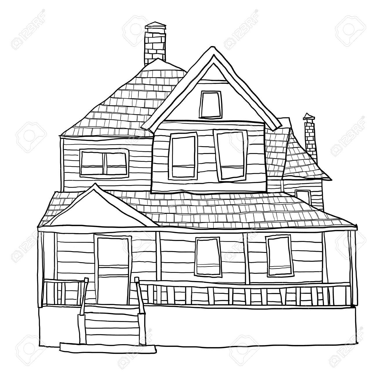 Vintage House Line Art Cute Illustration Stock Photo Picture