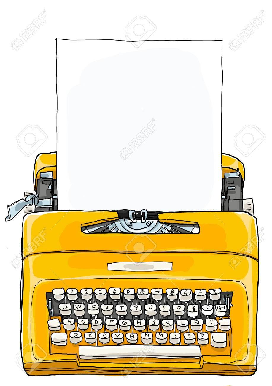 Yellow Typewriter Vintage Portable Manual typewriter with blank paper illustration - 48670143