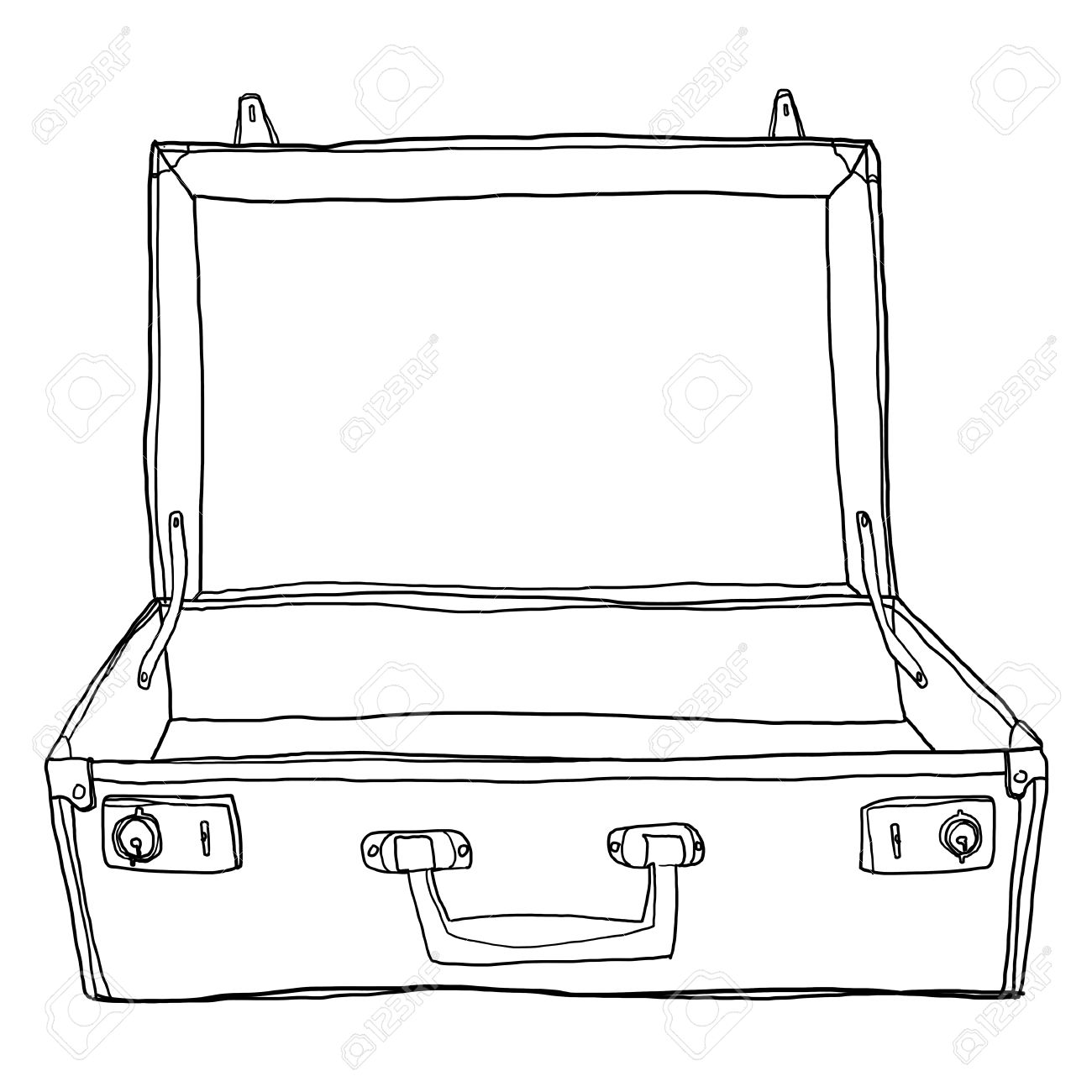 Vintage Luggage Suitcases Travel Open Is Empty Cute Lineart
