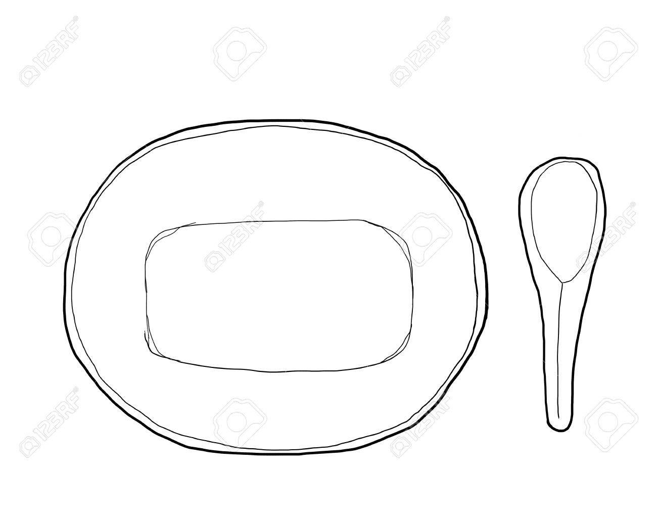ボウルと亜鉛のスプーン ヴィンテージ手描きかわいいライン アート