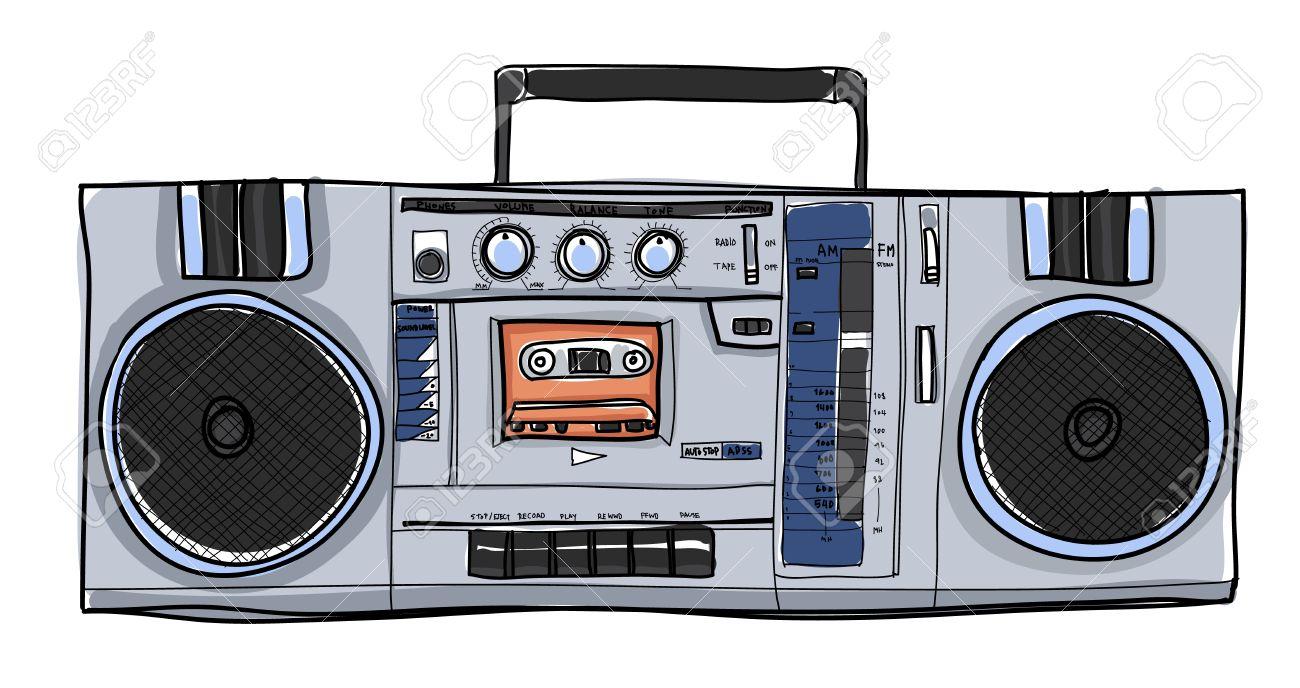 vector Stereo Boombox radio Vintage handdrawn illustration - 64602984