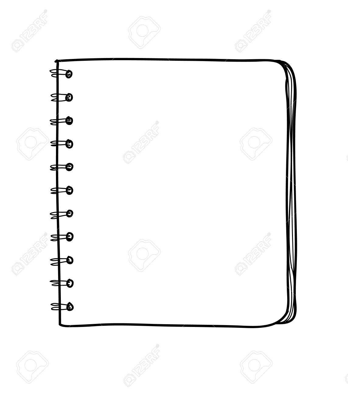 ベクター空白のノートブック手書きライン アートのかわいいイラストの