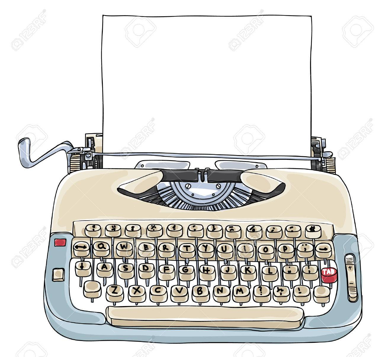 Typewriter Creme and Blue with blank paper vintage art cute illustration - 68789173