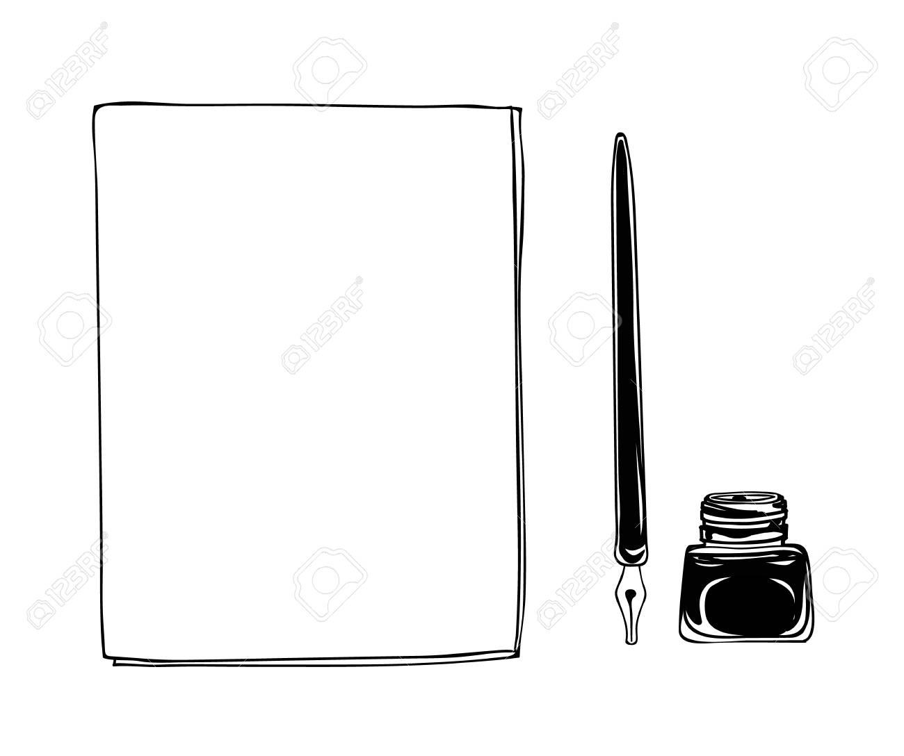 Notebook dip tip pen vintage and ink bottle vector hand drawn line art illustration - 71671482