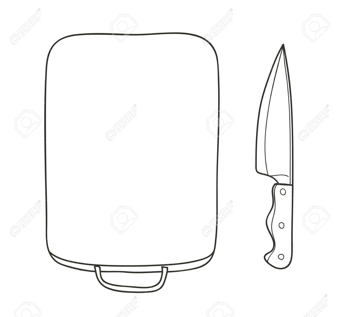 Cutting Boards And Kitchen Knives Copy Space Style Kitchen Supplies Vector