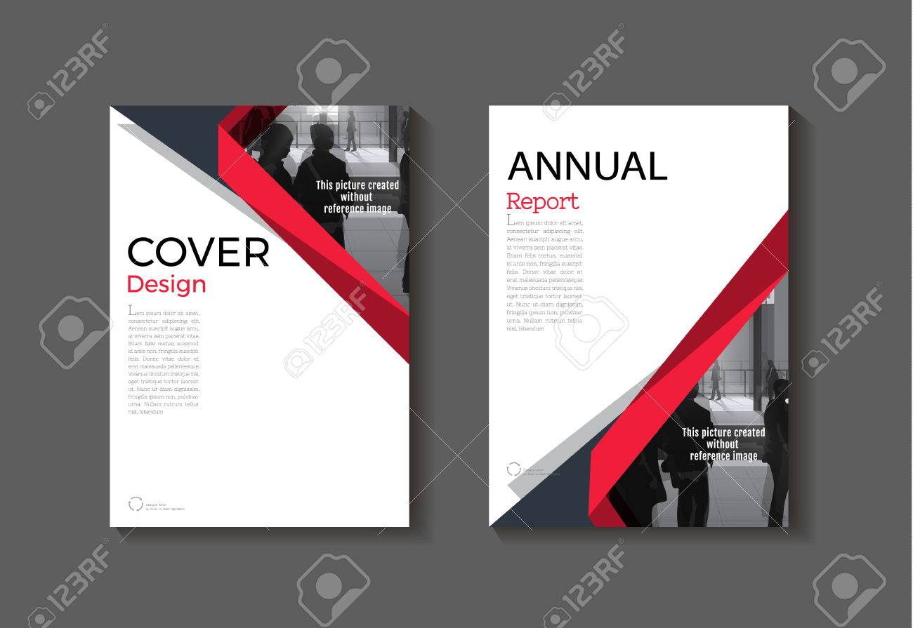 red cover abstract modern cover book brochure template design