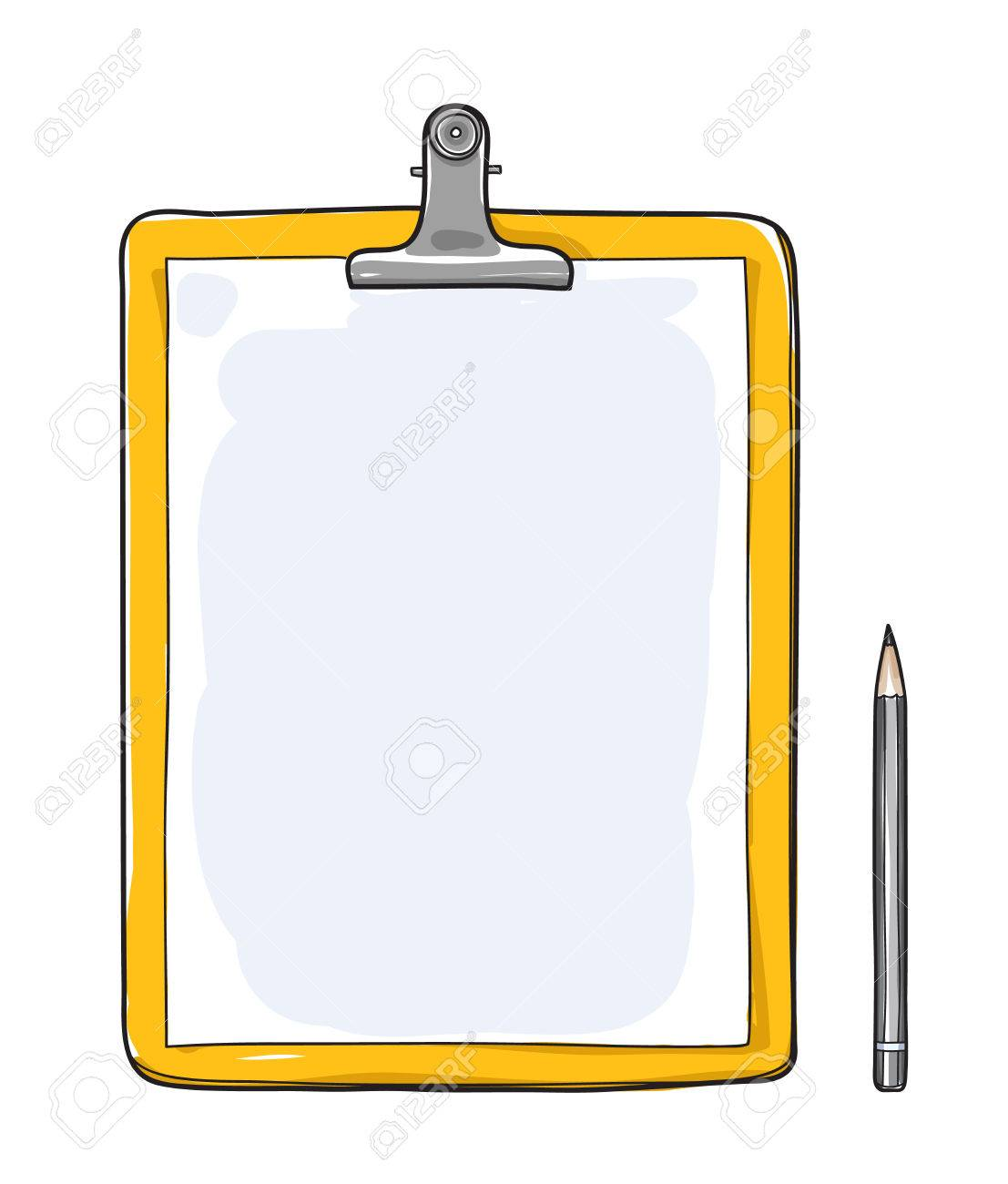 Yellow Clipboard with blank paper and a pencil hand drawn vector art illustration - 83768346