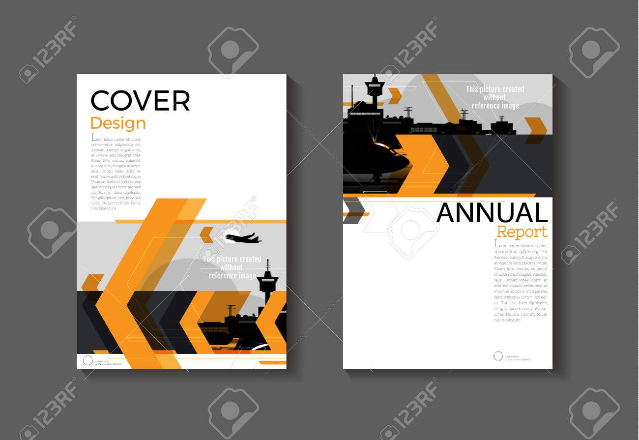 orange cover modern abstract cover book brochure template design