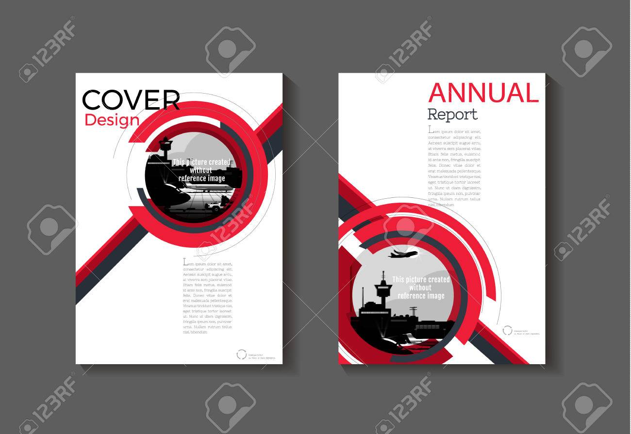 Red Cover Modern Abstract Cover Book Brochure Template Design