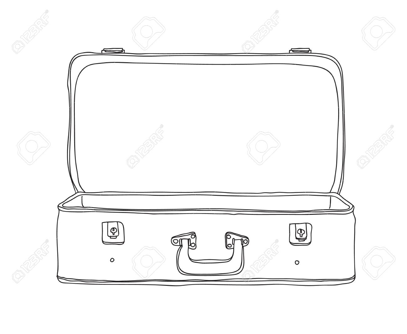 Suitcase Vintage Storage Luggage Empty and open hand drawn vector..