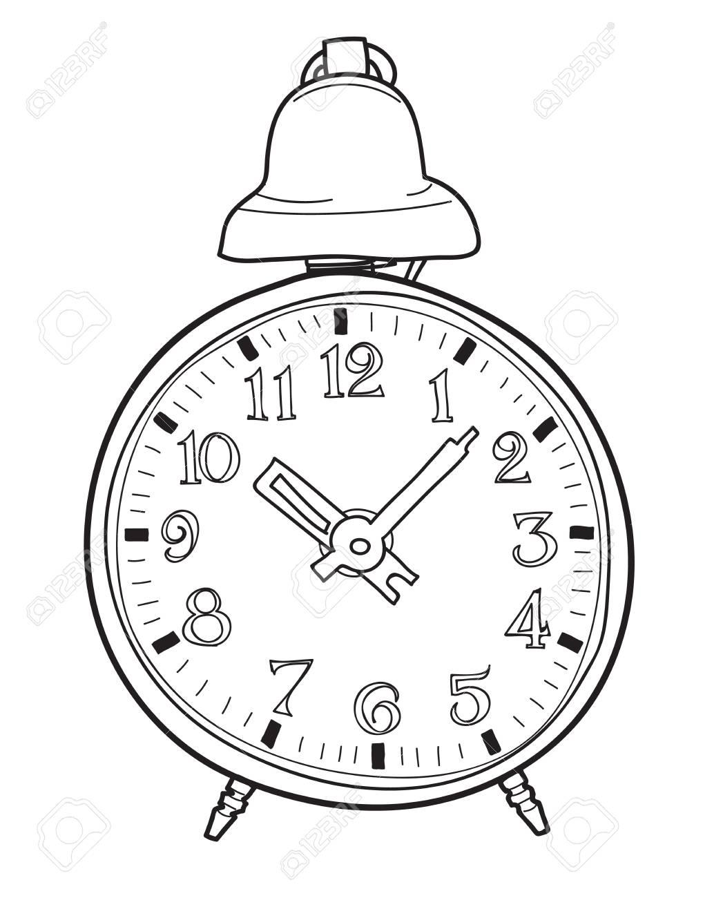 Blue Alarm Clock Retro Hand Drawn Cute Line Art Vector Illustration