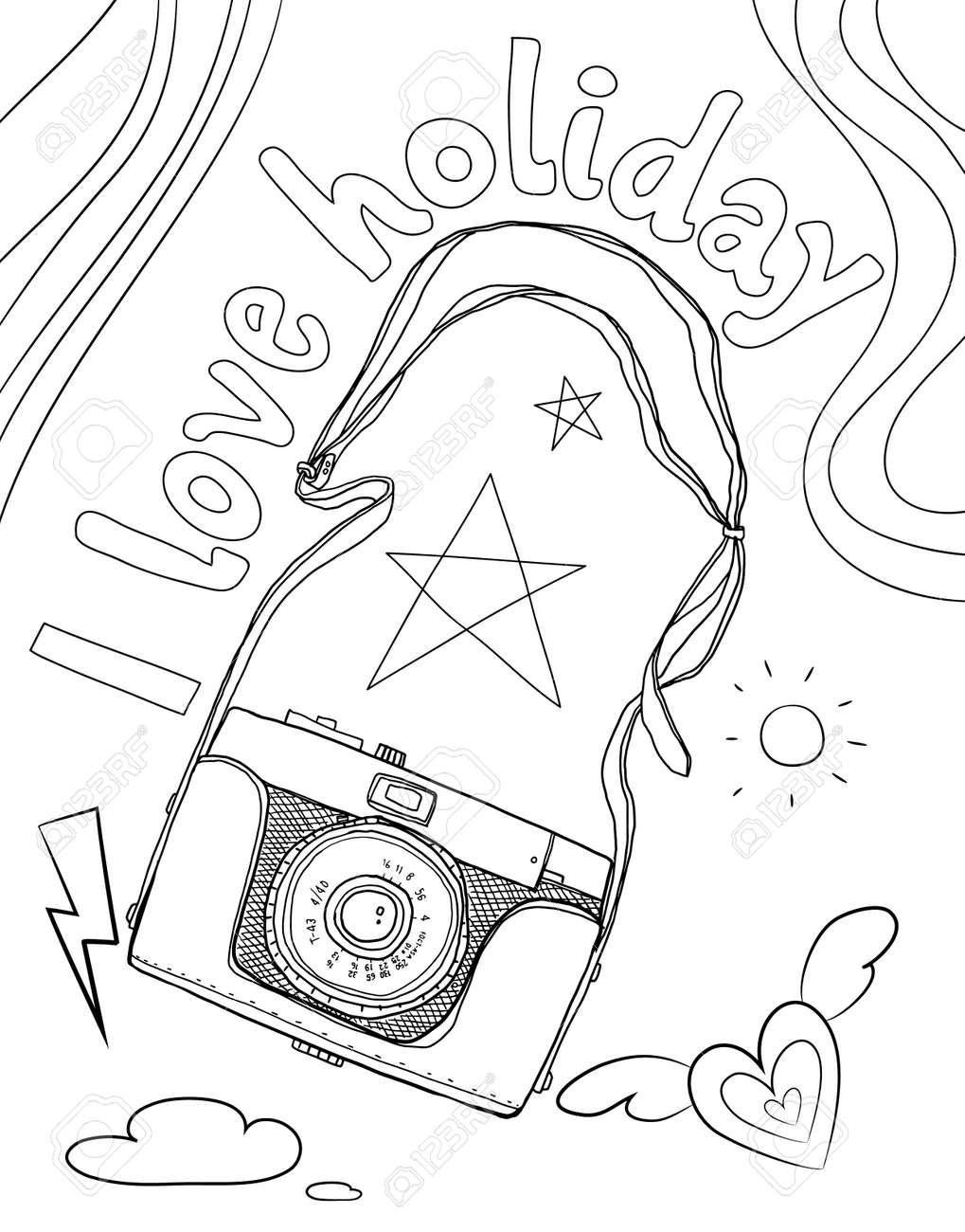 camera vintage classic hand drawn line art vector illustration - 169994861