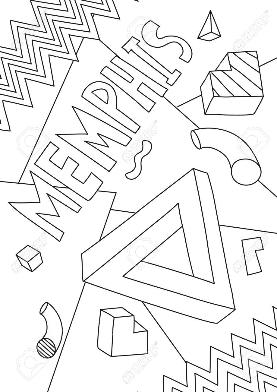 coloring book memphis Graphics line art hand drawn artwork vector illustration a4 - 169994873