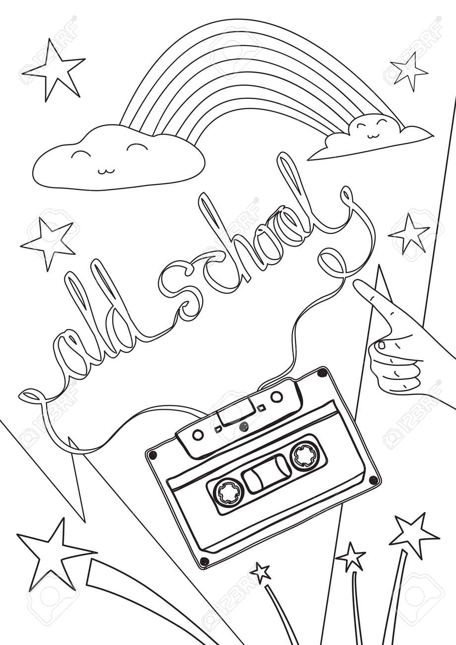 coloring book old school cute line art hand drawn artwork vector illustration a4 - 169994880