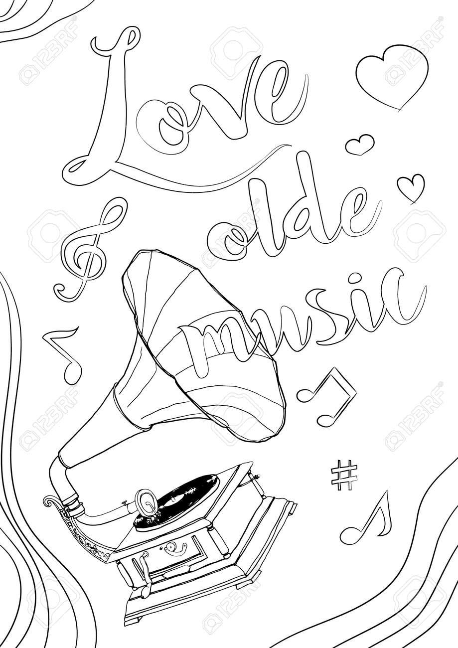coloring book old music cute line art hand drawn artwork vector illustration a4 - 169994882