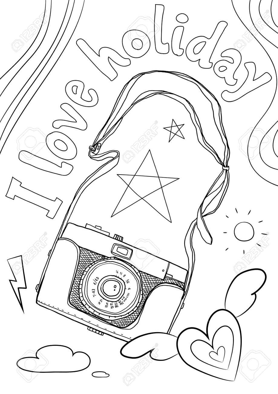 coloring book vintage camera cute line art hand drawn artwork vector illustration a4 - 169994883