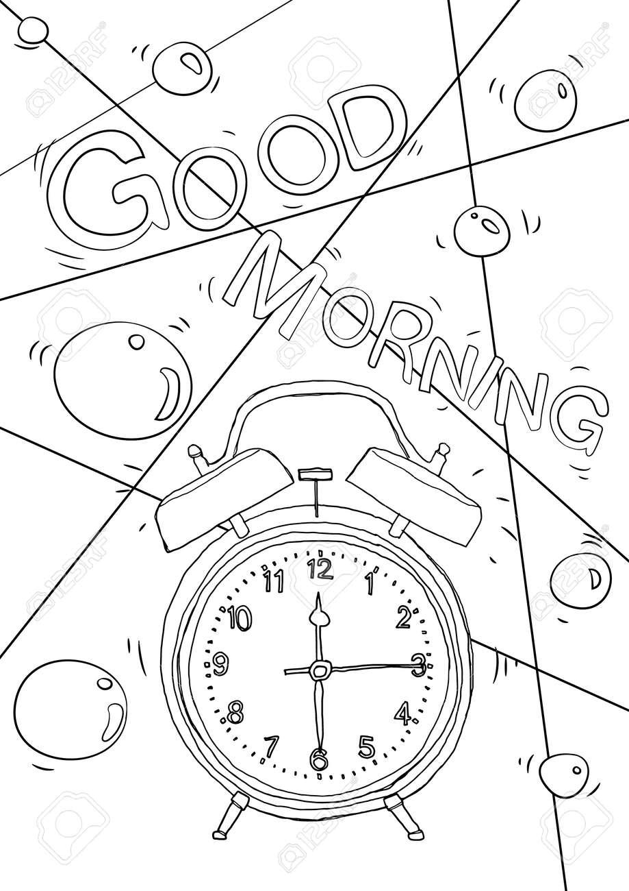 coloring book vintage Alarm clock cute line art hand drawn artwork vector illustration a4 - 169994884