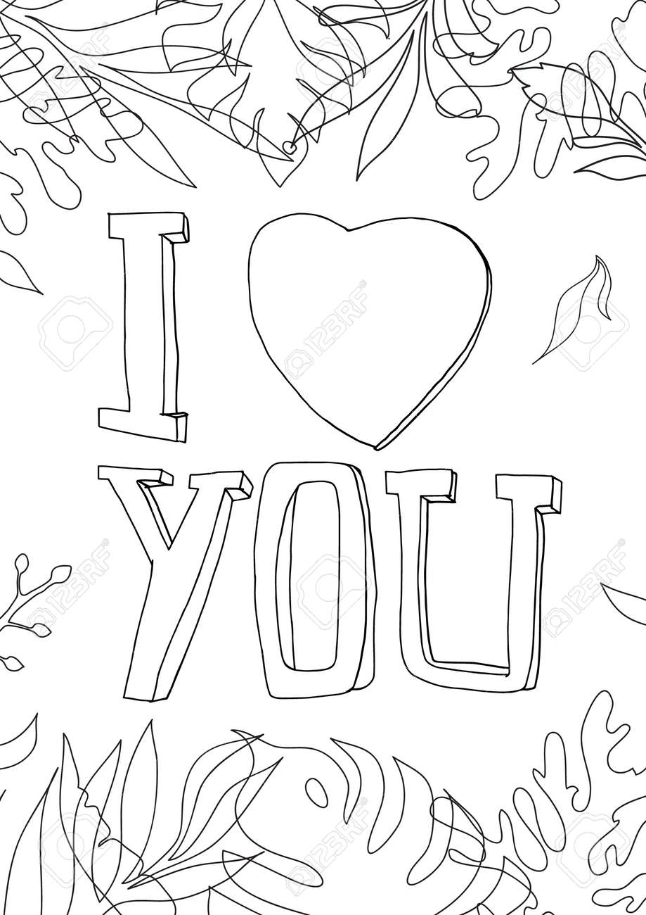 coloring book i love you Graphics line art hand drawn artwork vector illustration a4 - 169994886