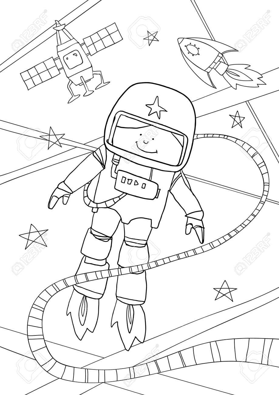 coloring book Astronaut cute line art hand drawn artwork vector illustration a4 - 169994888