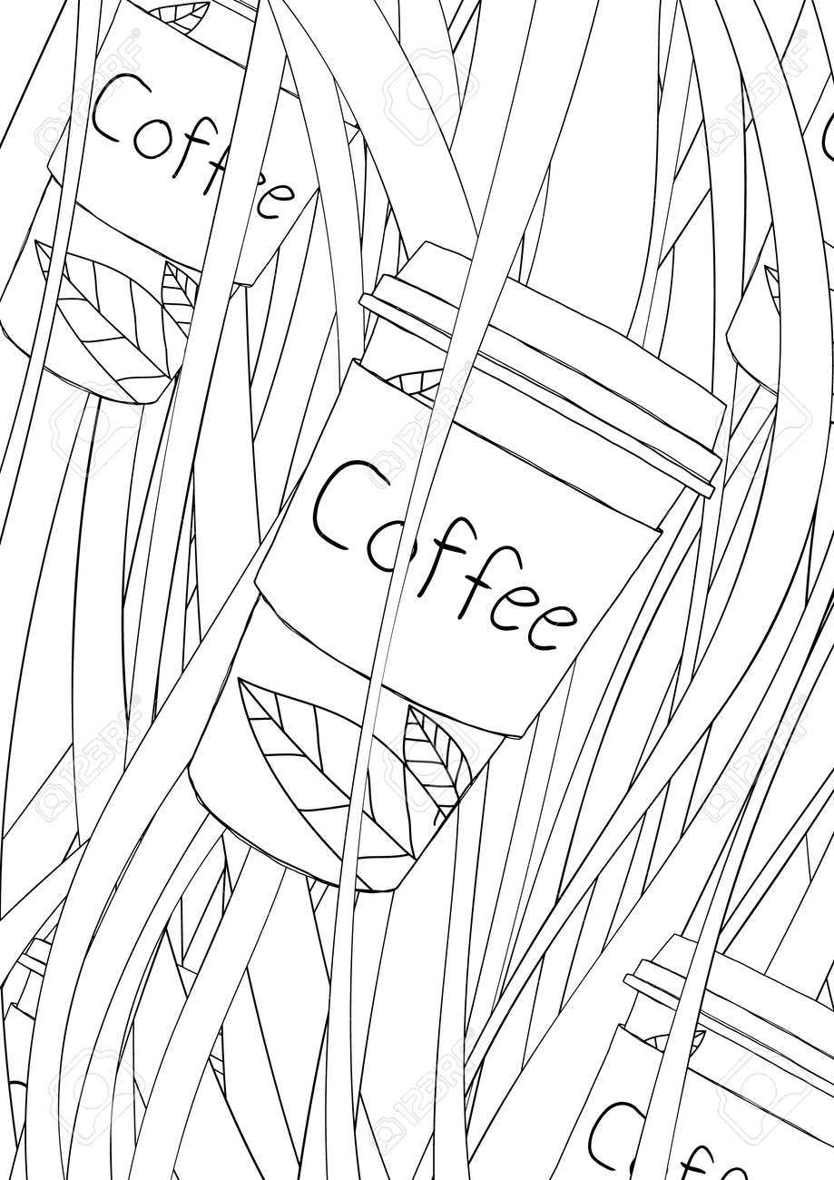 coloring book coffee cute line art hand drawn artwork vector illustration a4 - 169994889