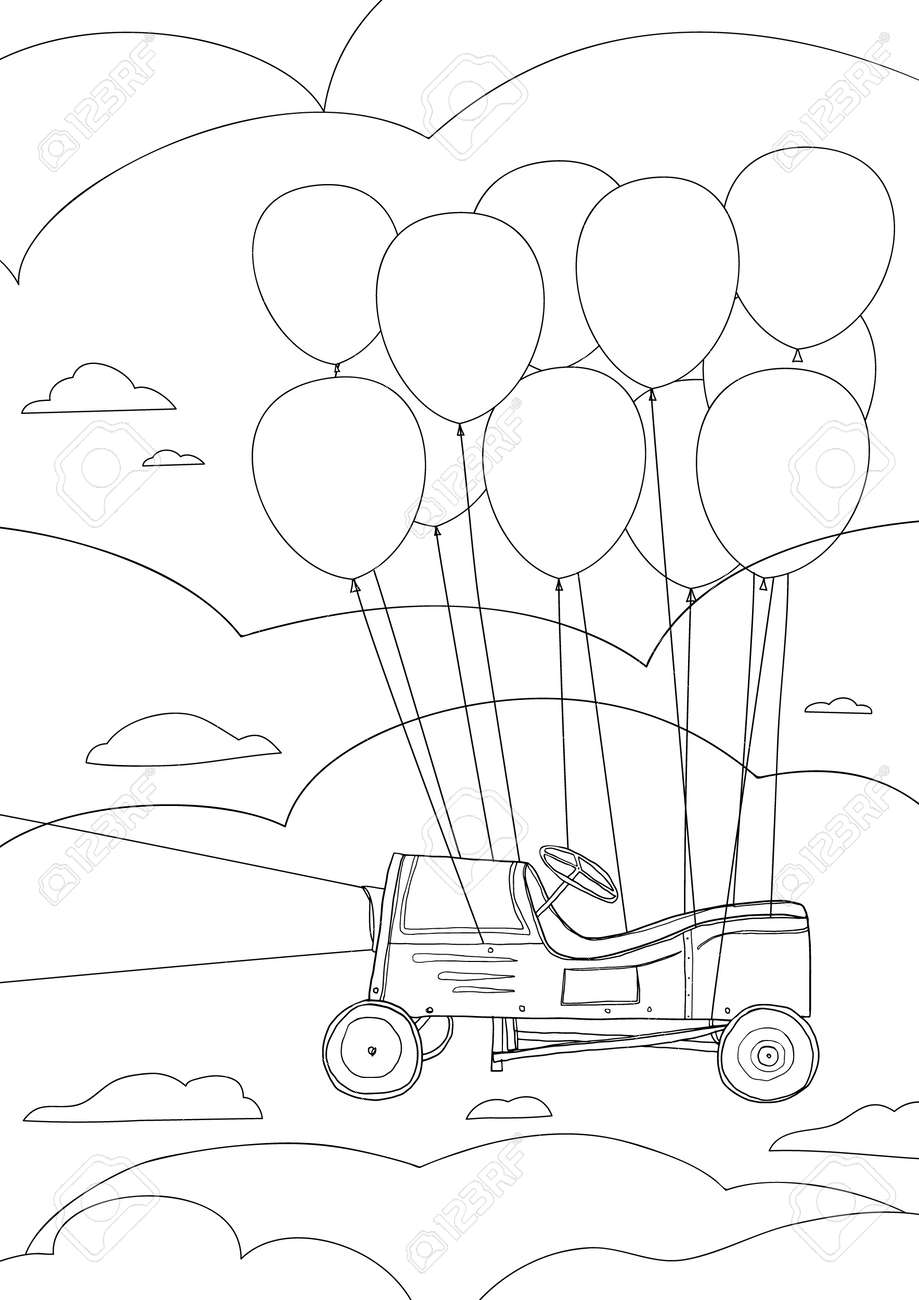 coloring book Children's play car, with balloons cute line art hand drawn artwork vector illustration a4 - 169994890