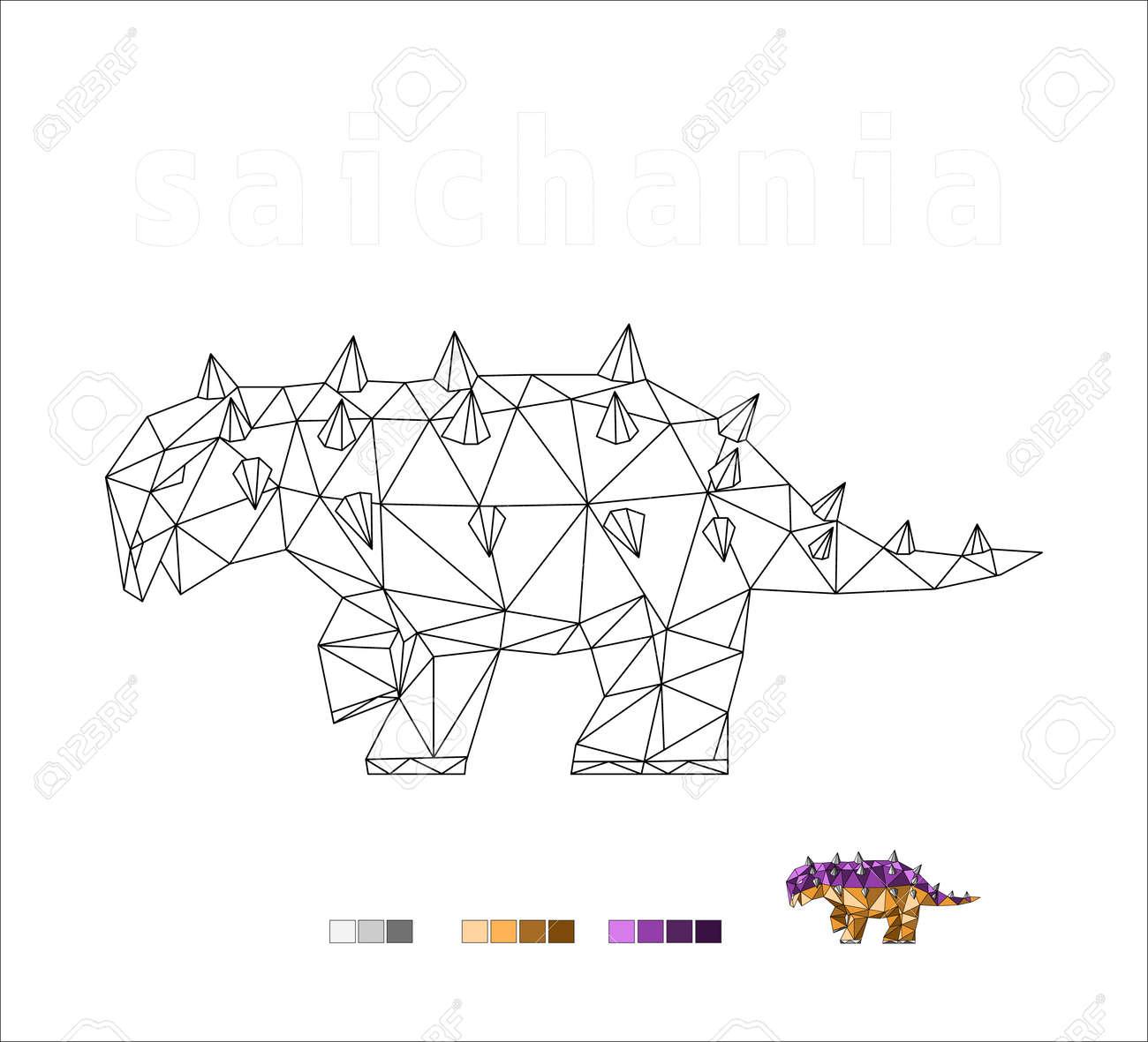 dinosaur coloring species saichania art vector illustration - 170755626