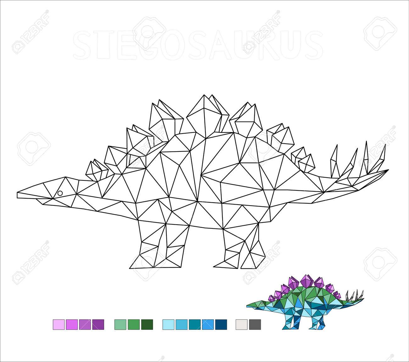 coloring stegosaurus dinosaur vector illustration for kids - 171118527
