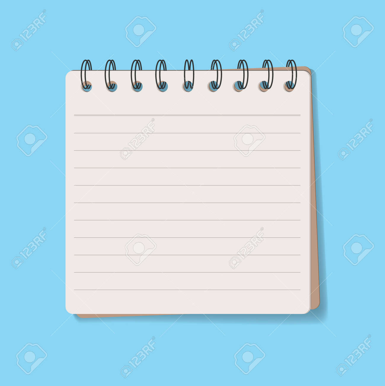 notebook brown cover on blue background vector art illustration - 171190835