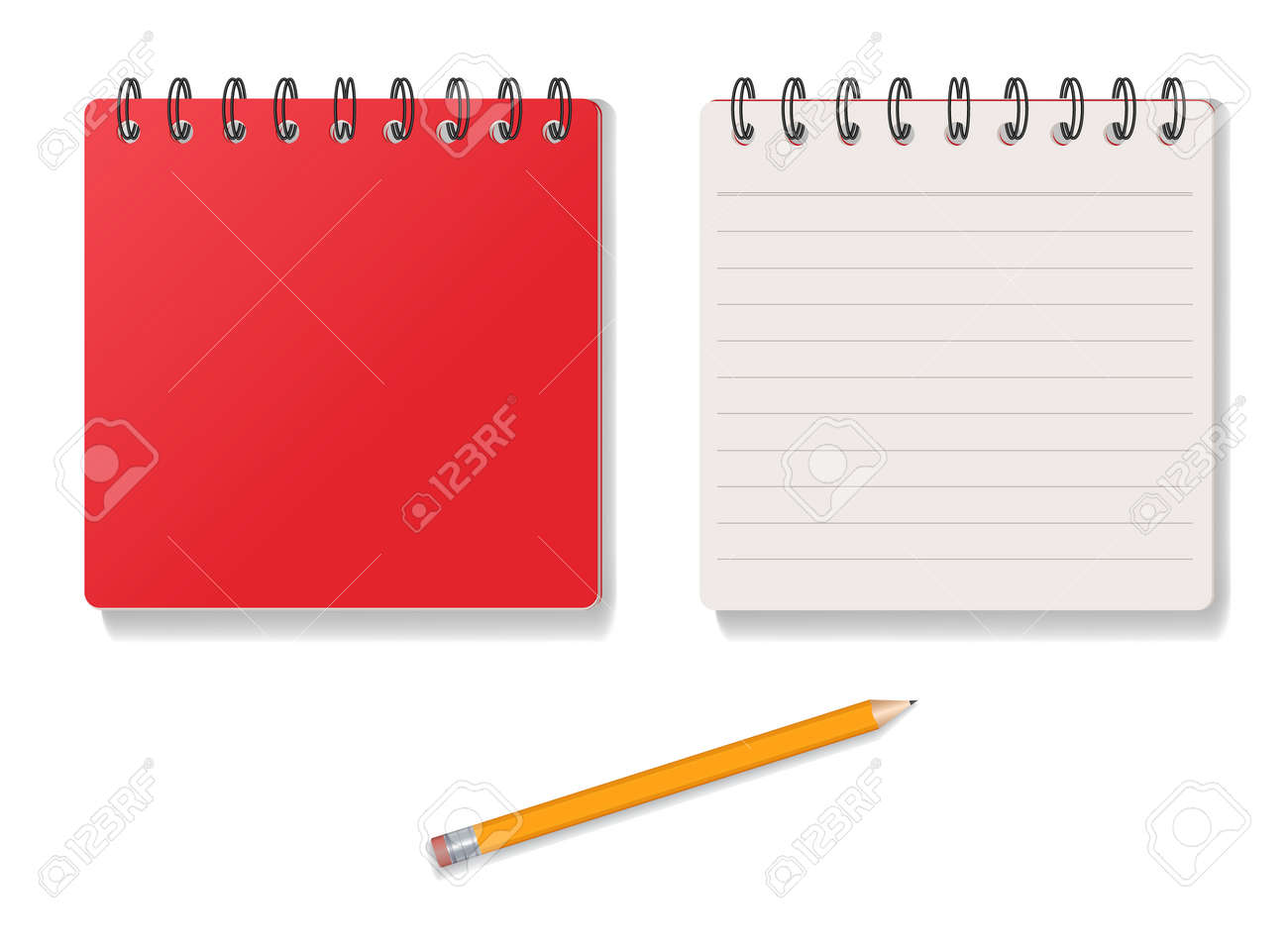 notebook red cover and pencil art vector illustration - 171228682