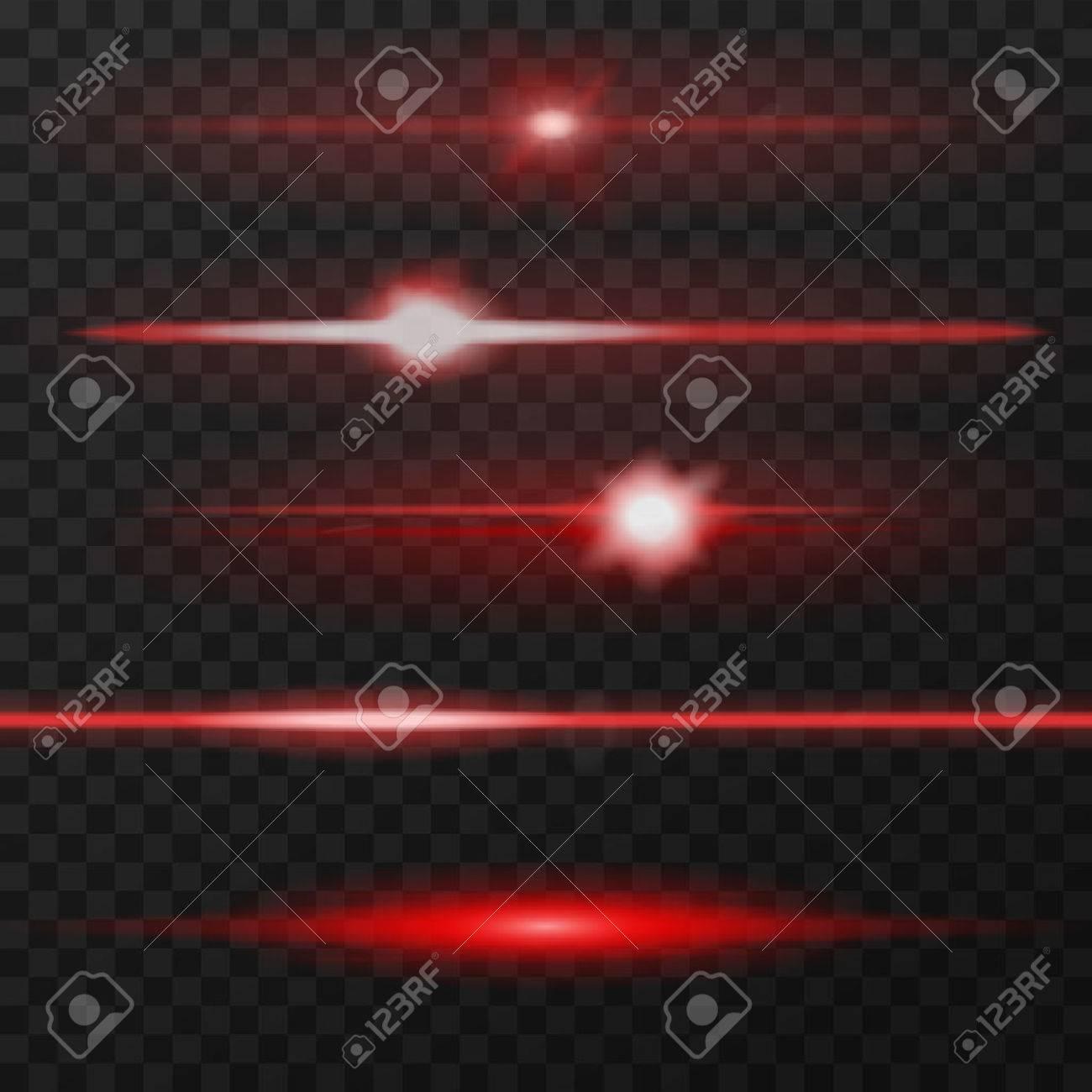 Red horizontal lens flares pack. Laser beams, horizontal light rays. - 51620880