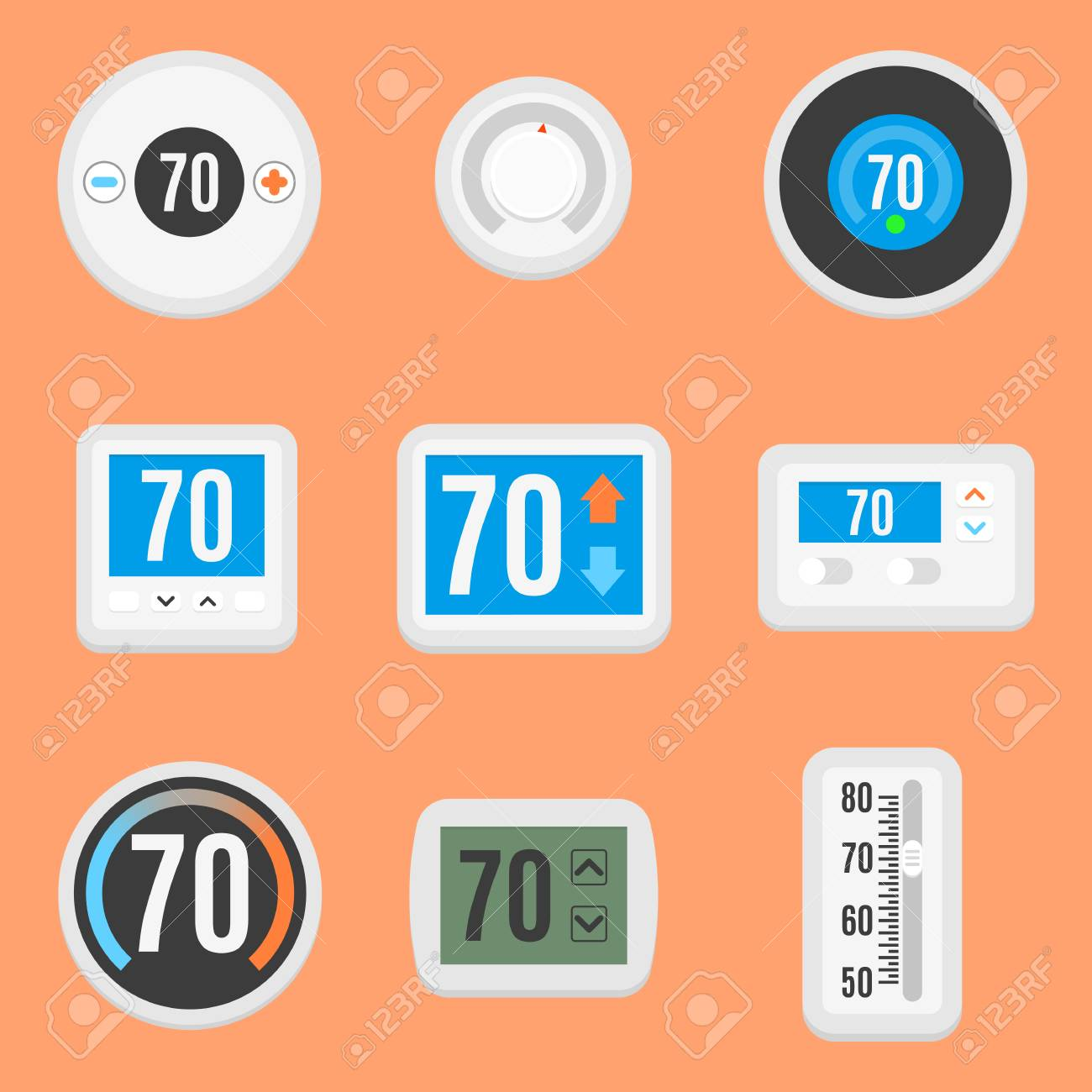 collection of nine different flat thermostat icons royalty free
