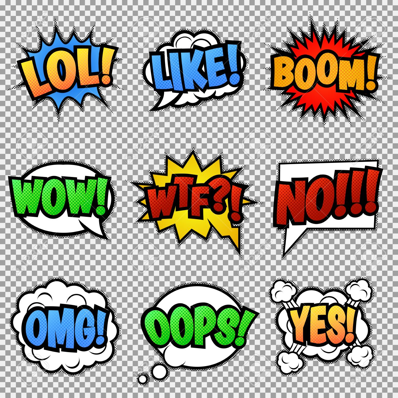 Set of nine different colorful comic stickers pop art speech bubbles with lol