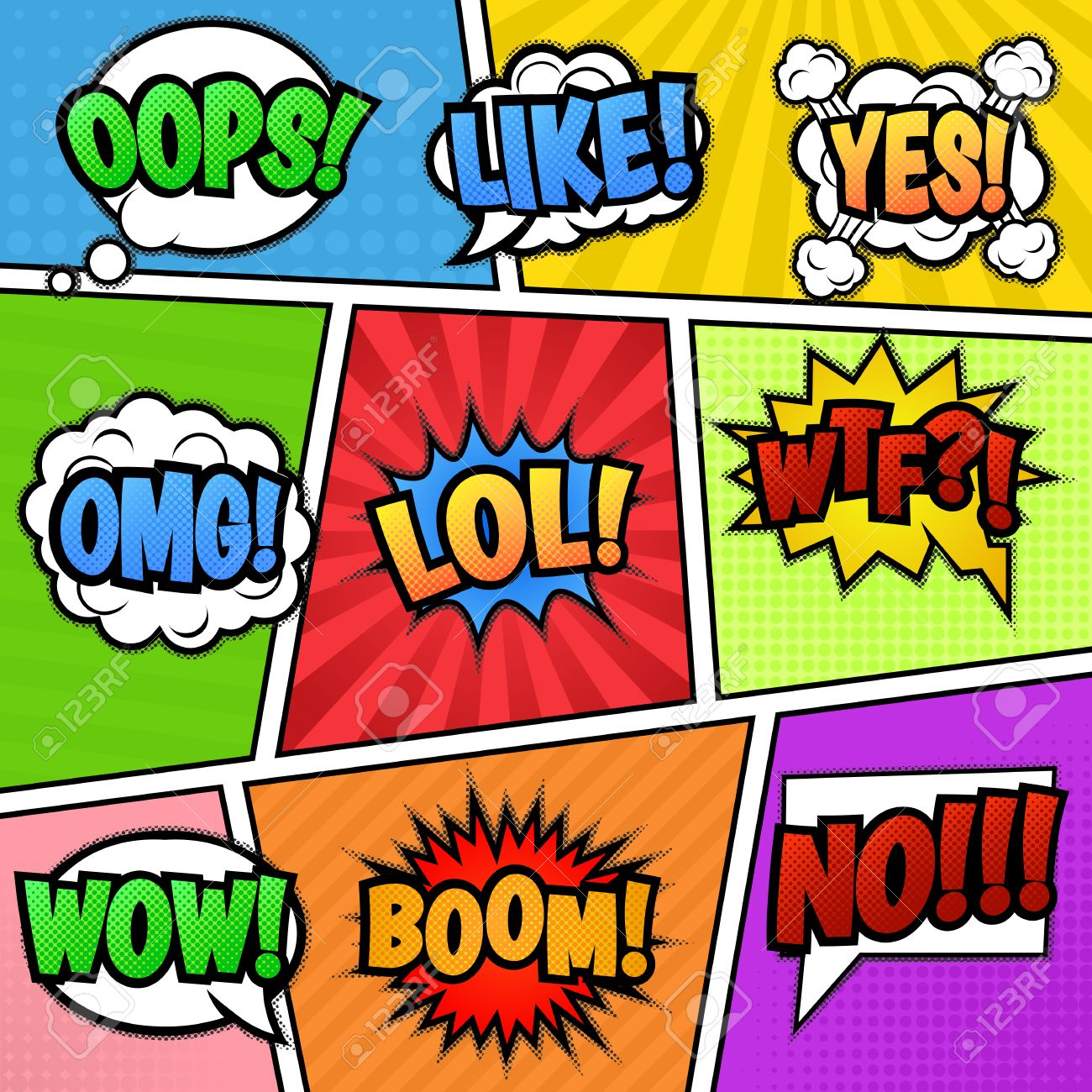 Set of nine different colorful stickers at colorful comic strip background pop art