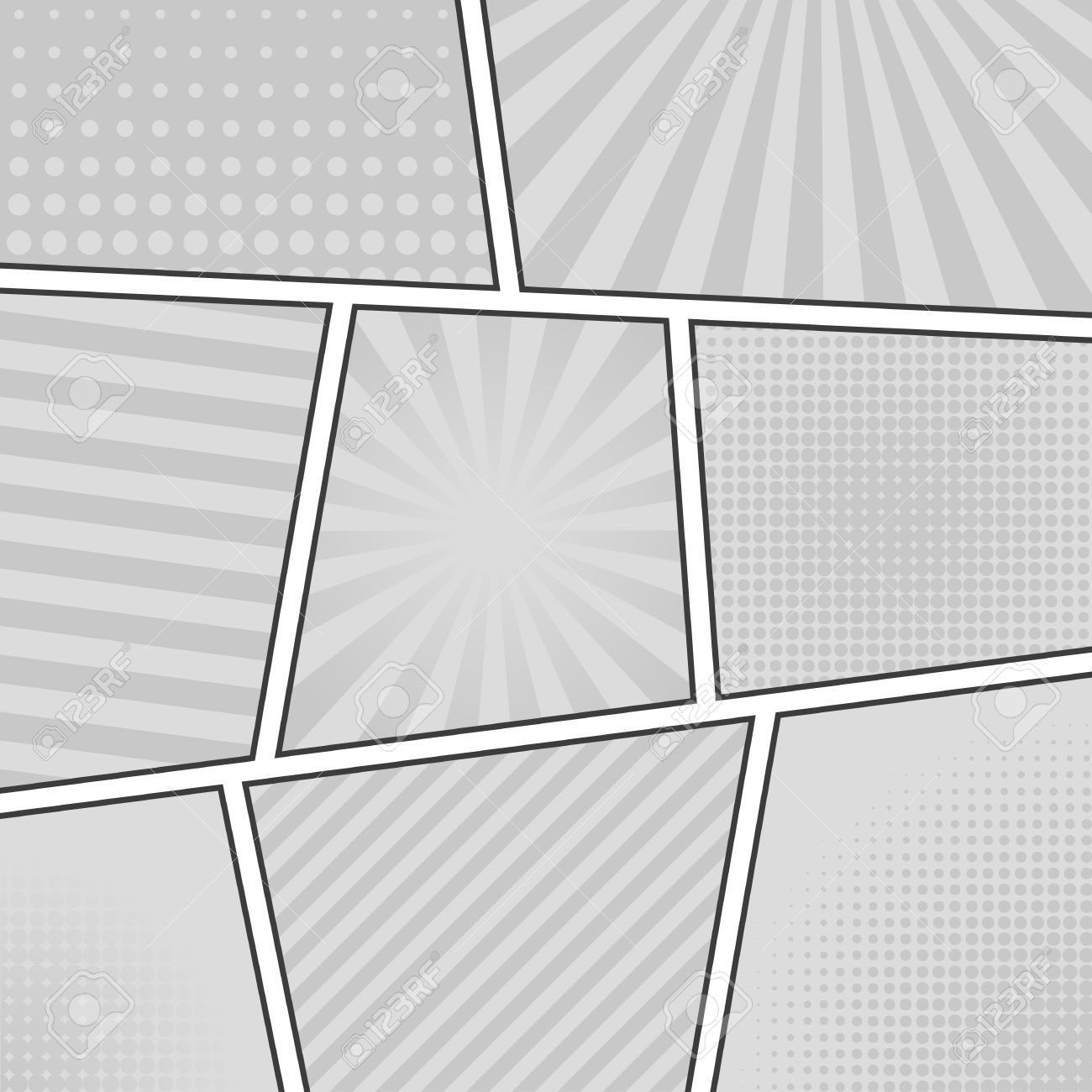 Comic Strip Monochrome Background. Different Panels. Rays, Lines, Dots.  Template Vector