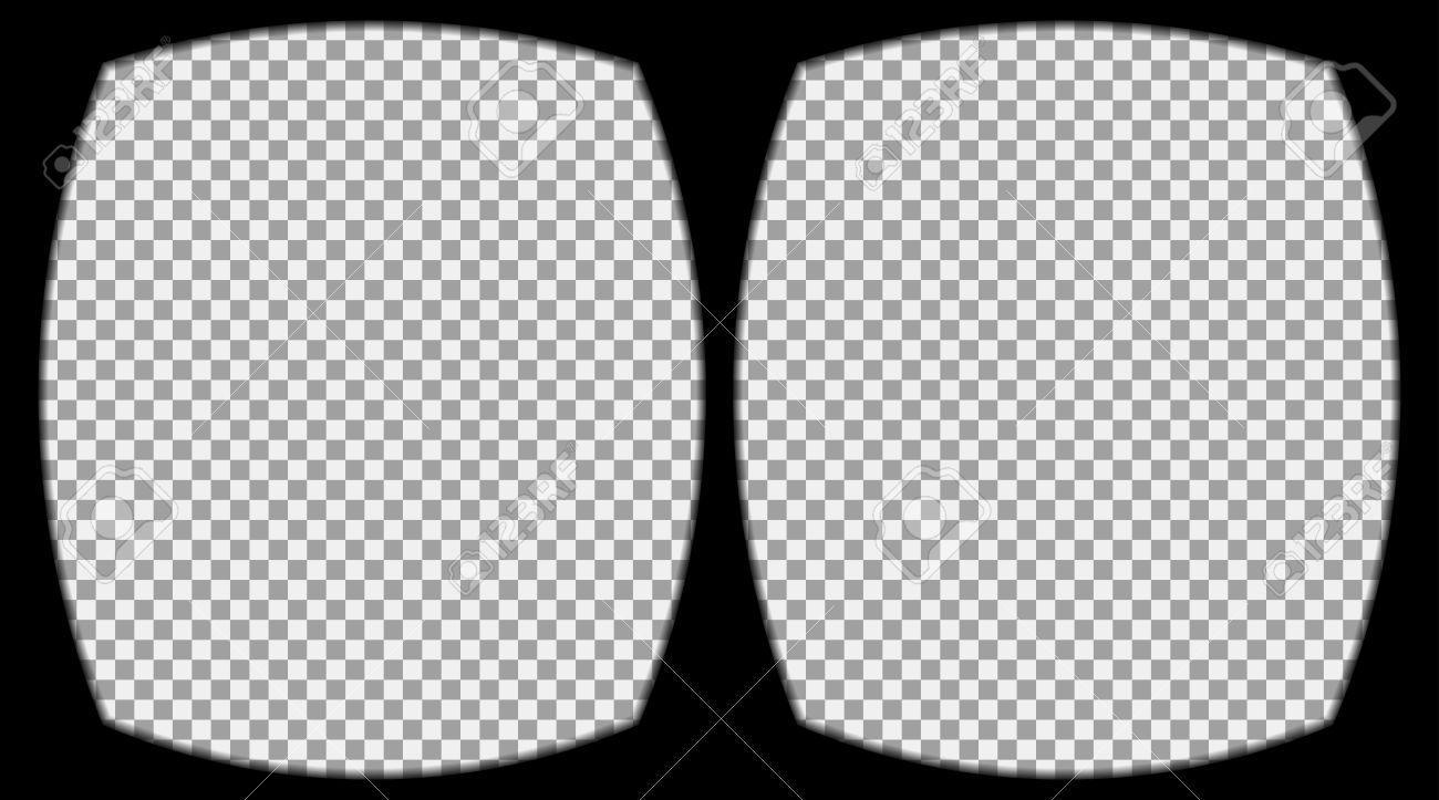 Foto de archivo , Virtual de gafas de realidad superpuesta sobre el fondo  transparente. Vista desde el casco de realidad virtual. Vector, plantilla,  aislado