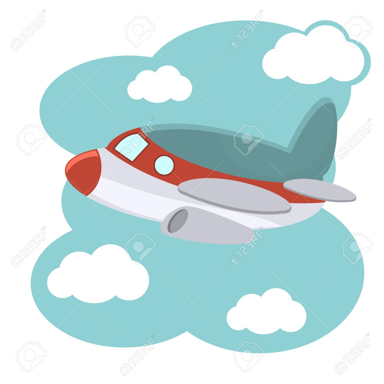 Cartoon Plane In Blue Sky Illustration Illustration Of Cartoon