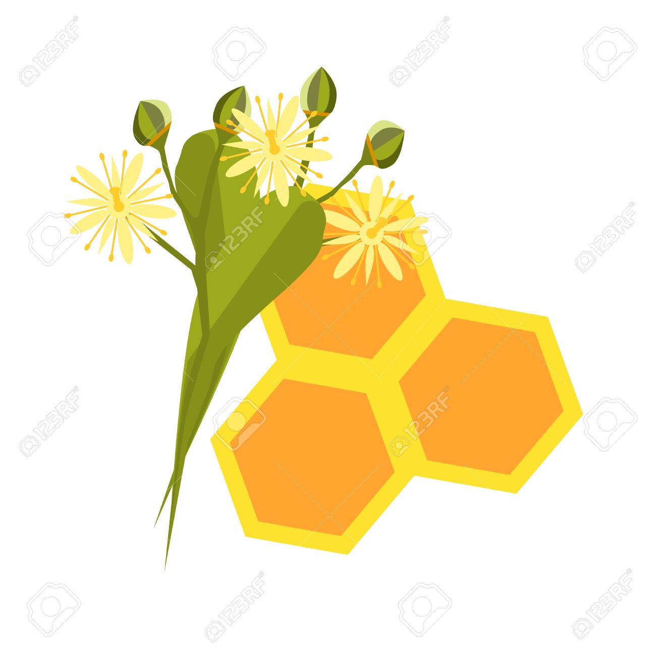 Honeycomb With Flowing Honey Illustration Bee Healthy Orange Hexagon Nature Beeswax Food Beehive