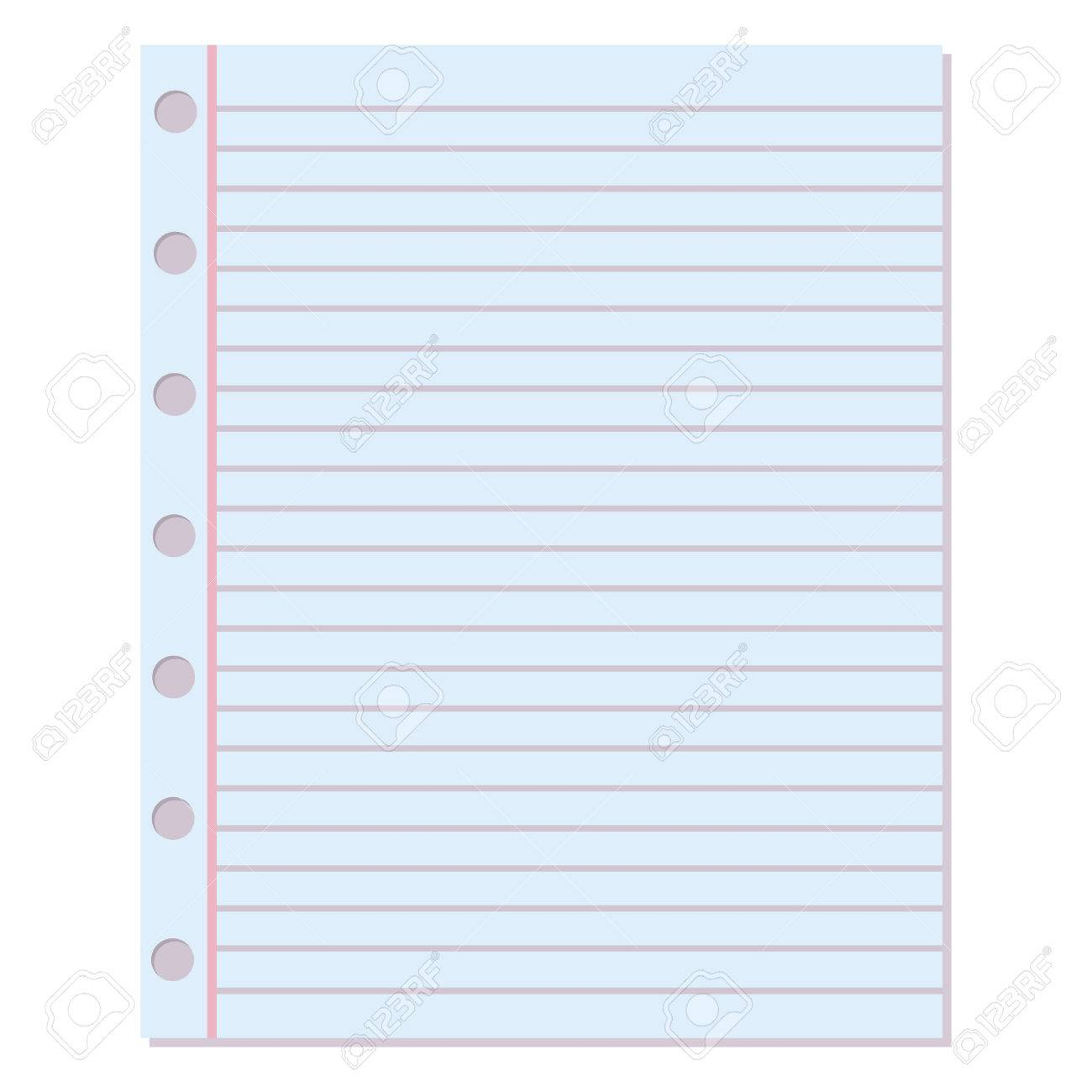 Notebook Paper Background. Blank Education Design Notepad Empty Notebook Paper  Sheet. Template Object Line  Blank Paper Background