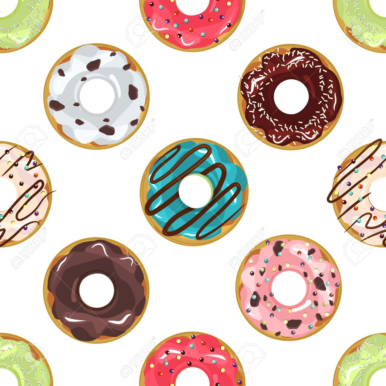 46d8b2dddf75 cute donuts with colorful glazing seamless pattern seamless .