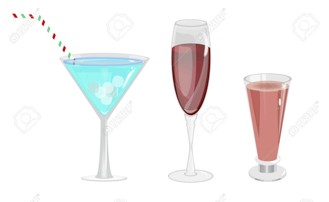 Christmas Drinks Alcohol.Alcohol Drinks In Glasses Transparent Set Isolated Beverage