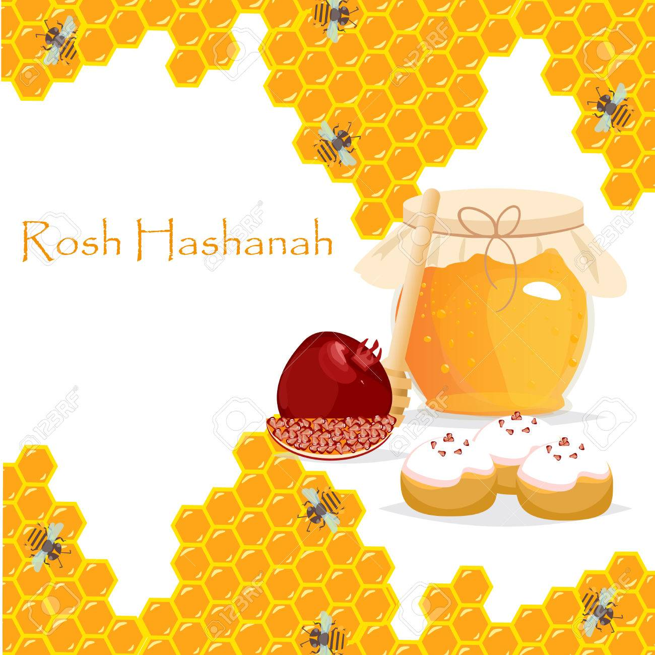 Rosh Hashanah Jewish New Year Greeting Card Set Design With Hand