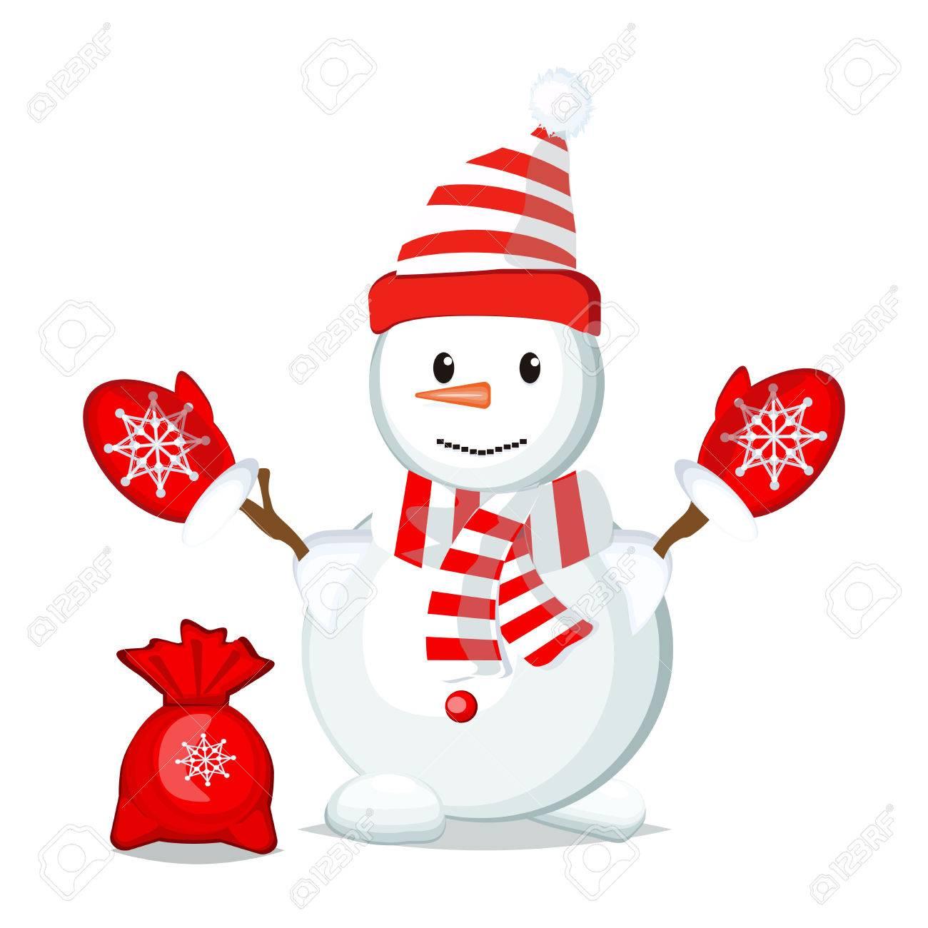 雪だるまのイラストが白い背景の文字人間を冷凍します 幸せなかわいい白い雪だるま帽子 雪の休日冷たいお祝い雪だるま 12 月漫画記号です のイラスト素材 ベクタ Image