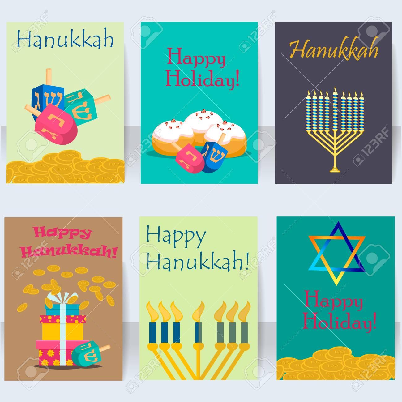 fiestas judías de hanukkah tarjetas vector conjunto religioso