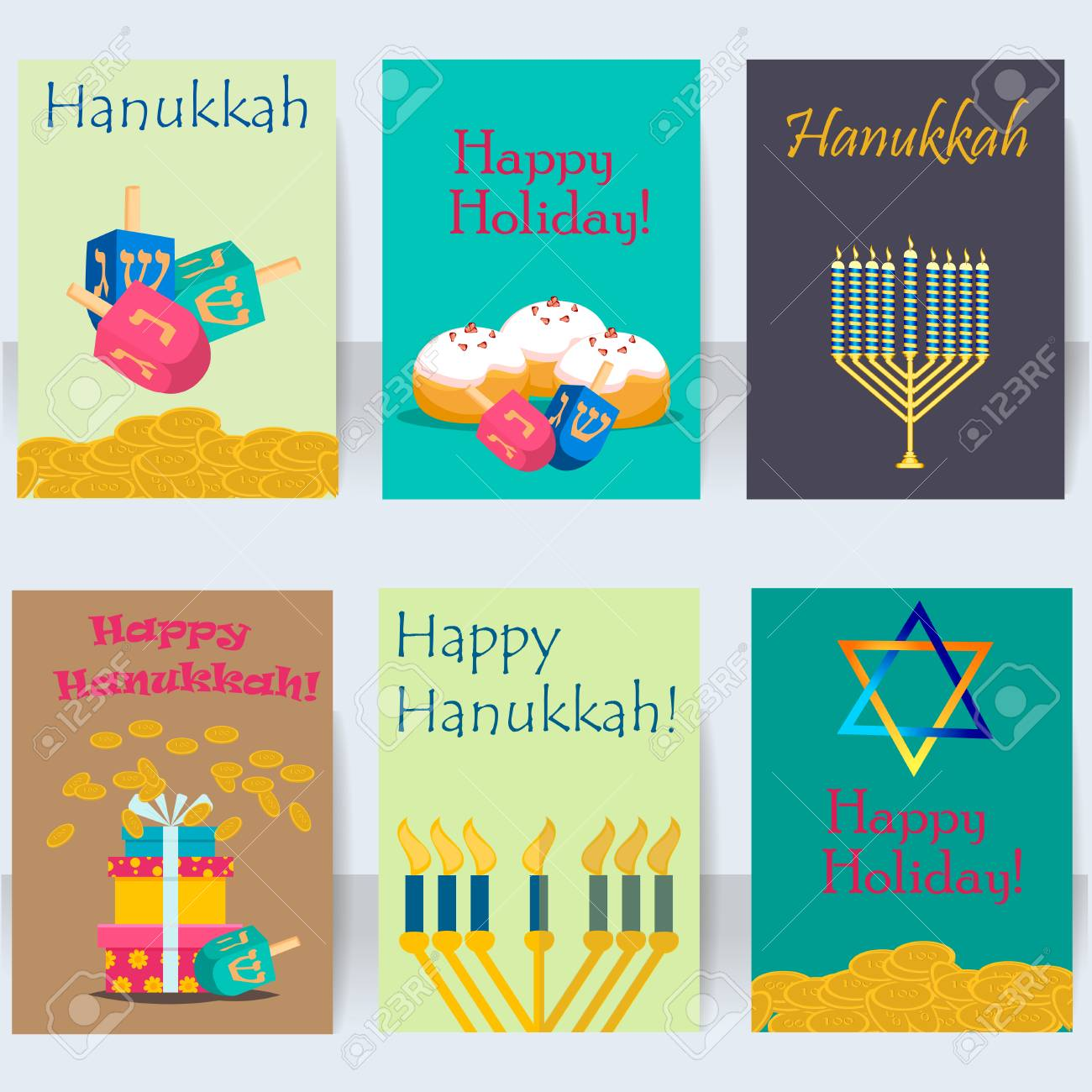 Hanukkah Jewish Holiday Cards Traditional Religious Set Vector