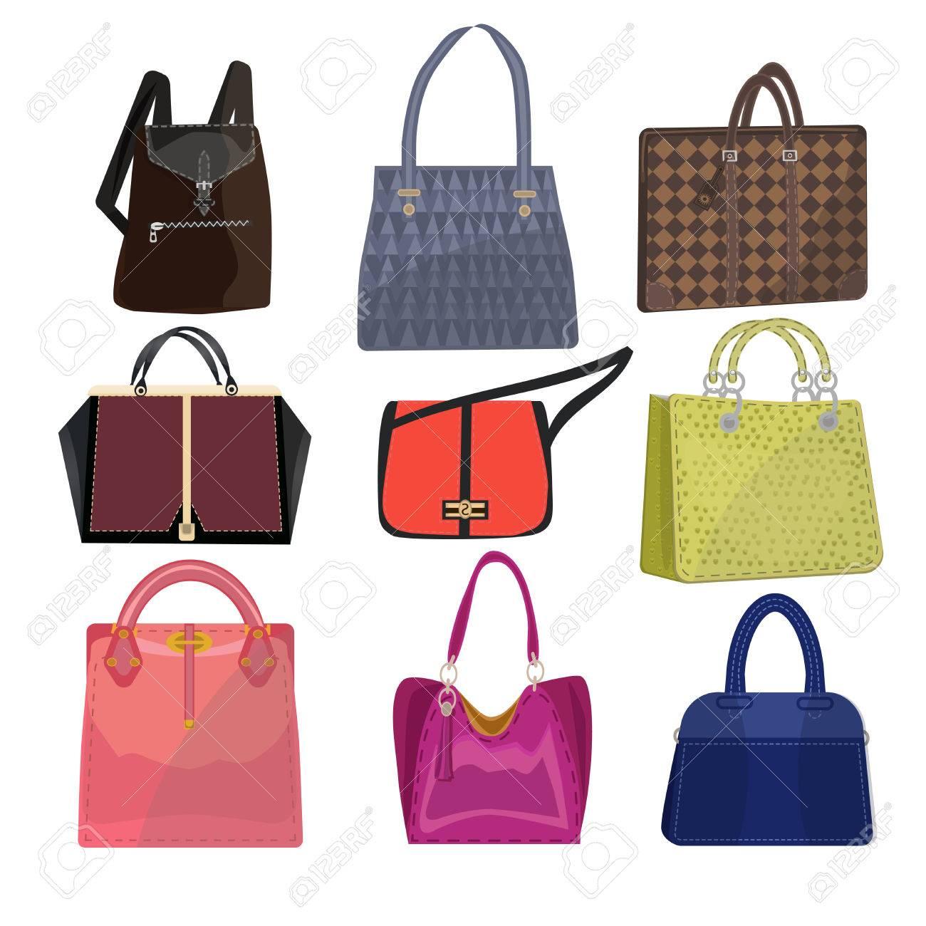 ee57c8ac01b5d Frauen Leder Farbe Handtaschen auf weißem Hintergrund. Moderne Luxus-Farbe  Griff Frau Tasche zum