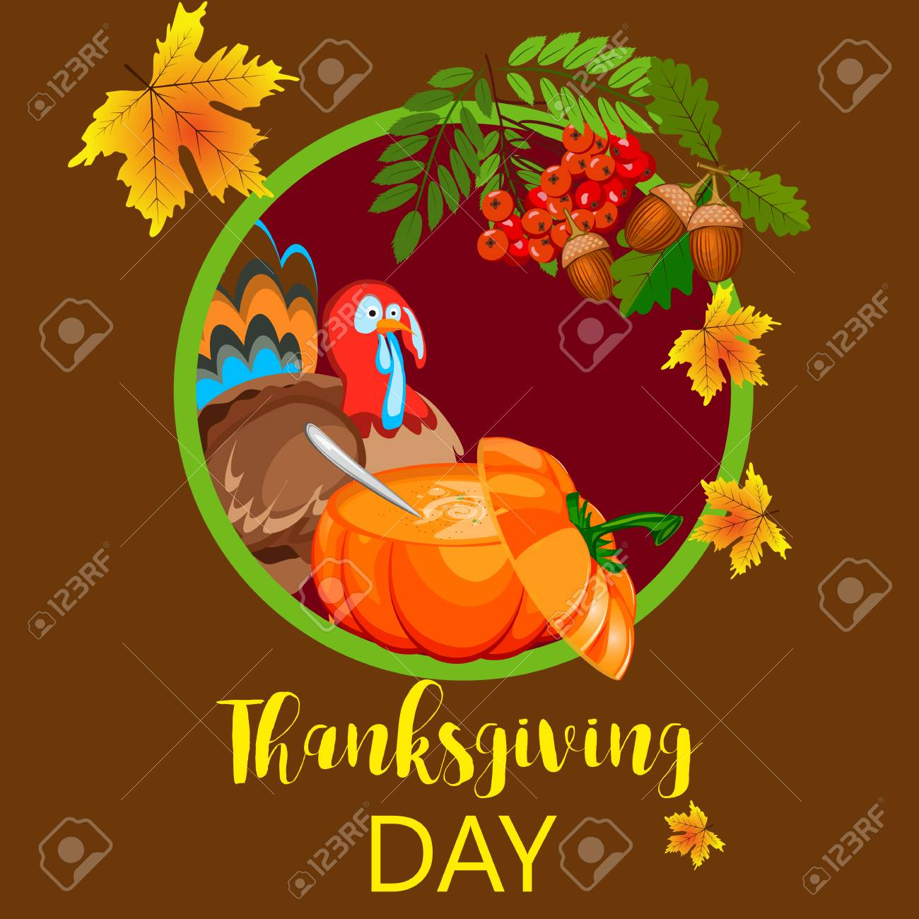 Happy thanksgiving card celebration banner design cartoon autumn happy thanksgiving card celebration banner design cartoon autumn greeting harvest season holiday brochure vector illustration kristyandbryce Choice Image