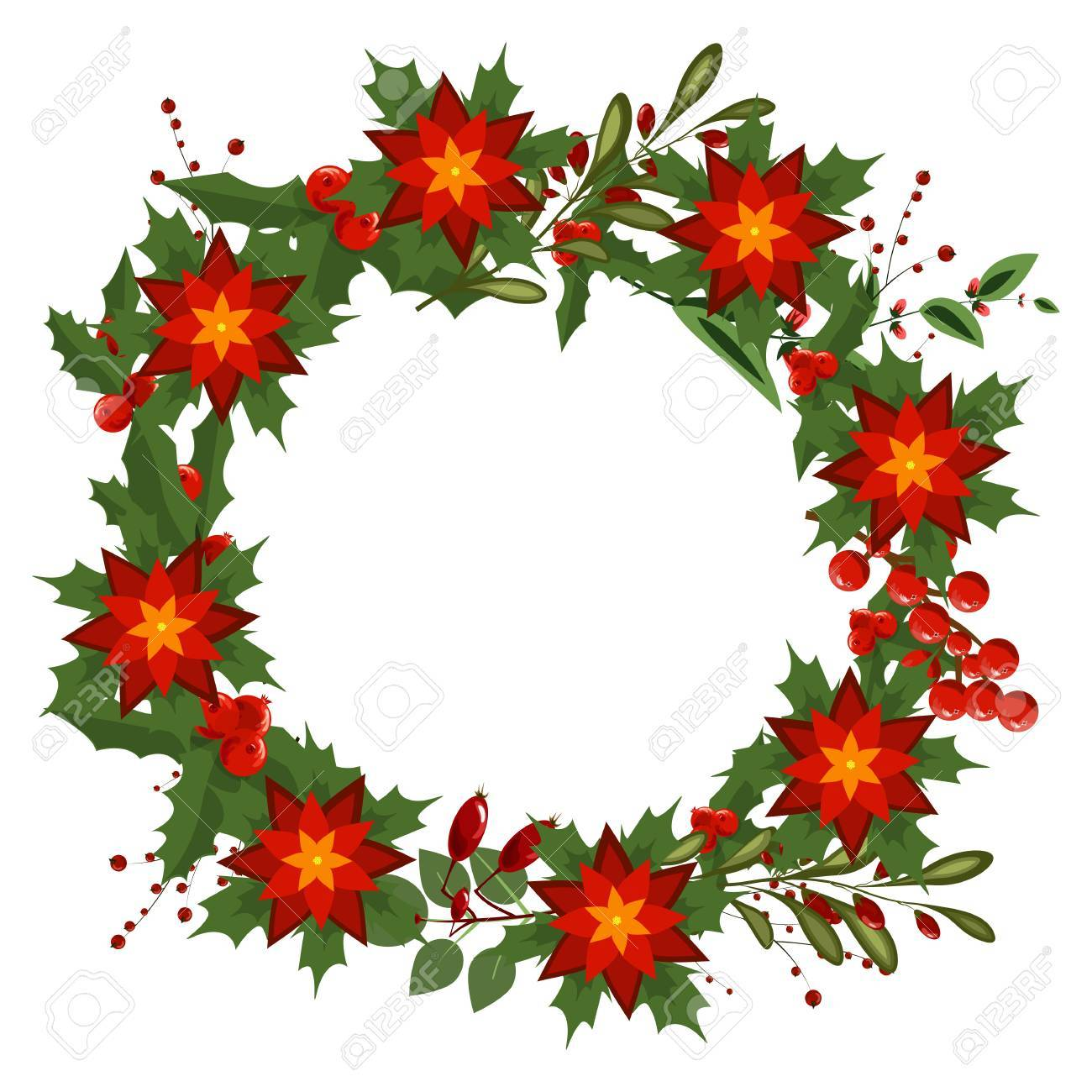 Hand Drawn Christmas Wreath Holiday Decoration Winter Poinsettia