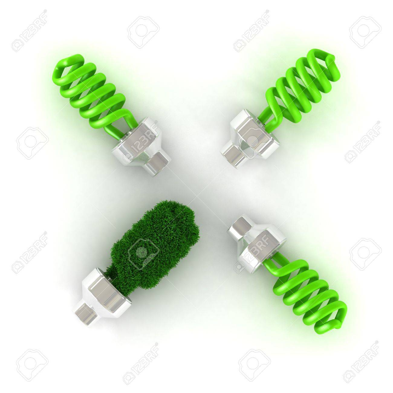 Energy saver concept of green lamp isolated on whitea Stock Photo - 5270797