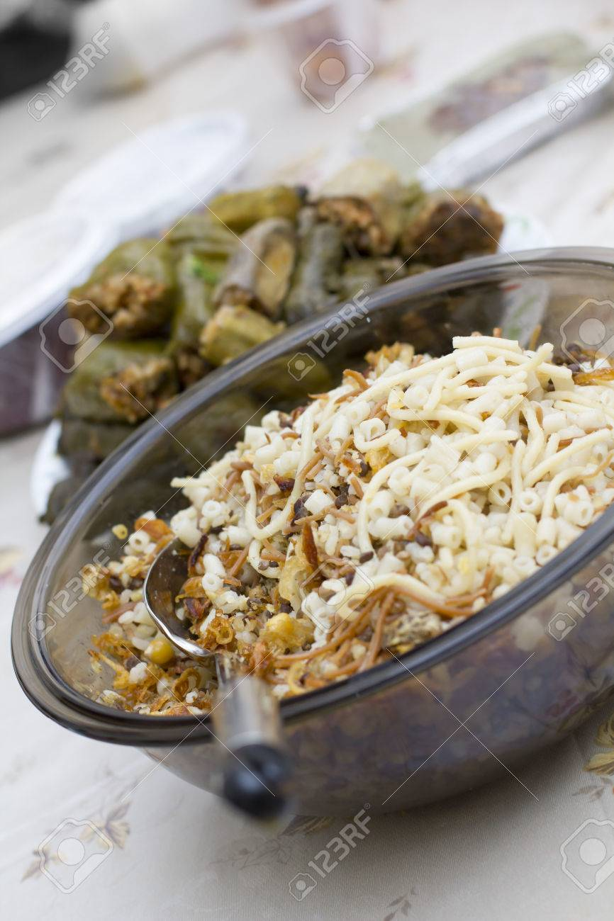 Traditional Egyptian Food Rice, Lentils, Pasta and Sauce
