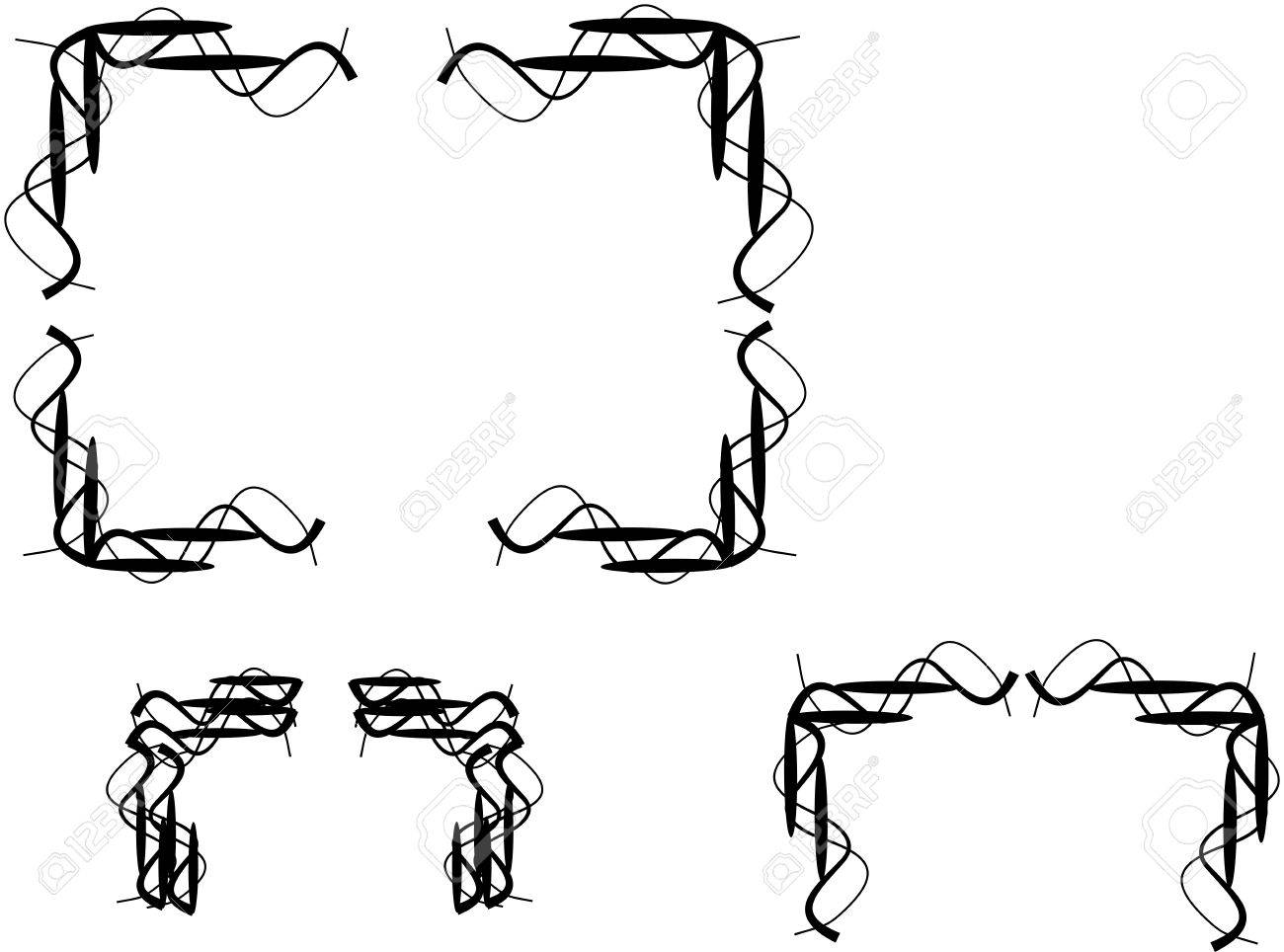 wire wands borders in black and on white Stock Vector - 4474481